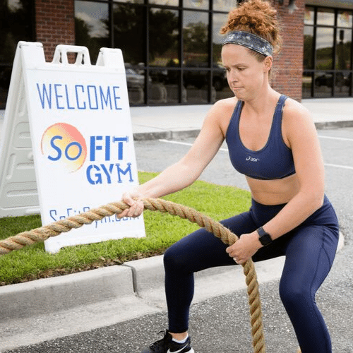 woman exercising with a rope